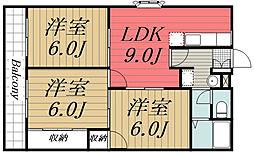 JR総武本線 四街道駅 バス8分 萱橋台下車 徒歩4分の賃貸アパート 2階3LDKの間取り