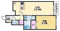 サワー・ドゥ萩原天神 1階1LDKの間取り