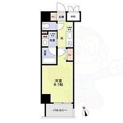 名古屋市営鶴舞線 丸の内駅 徒歩8分の賃貸マンション 7階1Kの間取り