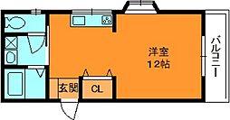 奈良県生駒郡斑鳩町興留8丁目の賃貸マンションの間取り