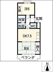 シャンブル若田[3階]の間取り