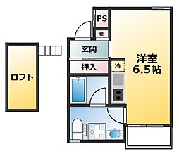 Shine Shimo Shinjo 2階ワンルームの間取り