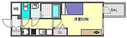 プレサンス心斎橋クォーレ 8階1Kの間取り