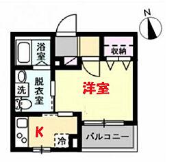 ベイルーム南太田プレミア 1階1Kの間取り