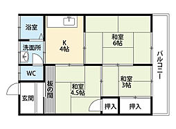 上村荘B棟[2階]の間取り