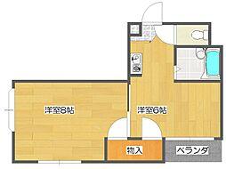 セラ北加賀屋B[3階]の間取り