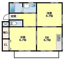 愛知県豊田市市木町2丁目の賃貸アパートの間取り