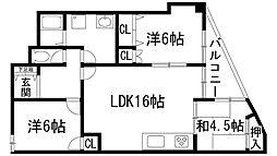 兵庫県宝塚市南ひばりガ丘3丁目の賃貸マンションの間取り