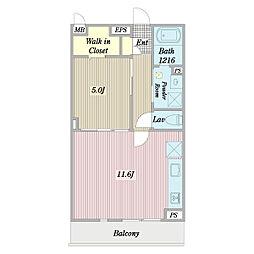 (仮称)府中町3丁目計画新築工事 3階1LDKの間取り