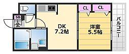 シャーメゾン北花田 2階1DKの間取り
