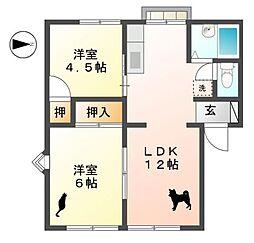滋賀県東近江市妙法寺町の賃貸マンションの間取り