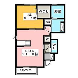 シュプリームTakehachi A[1階]の間取り