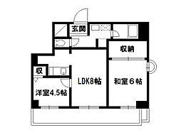 第33長栄今小路メリーハイツ[5階]の間取り