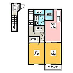 カーサアイリス C棟[2階]の間取り