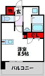 西鉄天神大牟田線 高宮駅 徒歩21分の賃貸マンション 14階1Kの間取り