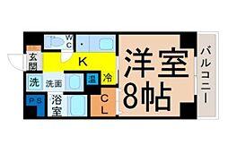 名古屋市営桜通線 国際センター駅 徒歩8分の賃貸マンション 11階1Kの間取り