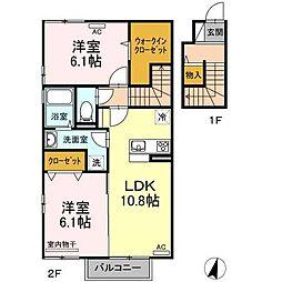 (仮)D-room喜多川B棟 2階2LDKの間取り