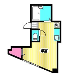 JR中央本線 三鷹駅 徒歩6分の賃貸マンション 3階ワンルームの間取り