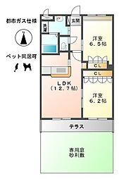 愛知県一宮市伝法寺12丁目の賃貸アパートの間取り