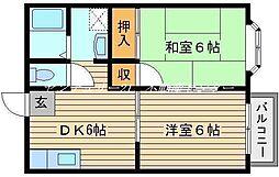 JR山陽本線 西川原駅 徒歩4分の賃貸アパート 1階2DKの間取り