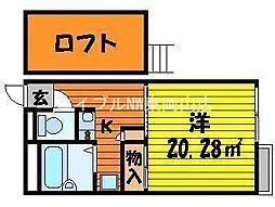 岡山県岡山市東区西大寺川口丁目なしの賃貸アパートの間取り
