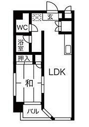 仙台市地下鉄東西線 川内駅 牛越橋下車 徒歩15分の賃貸マンション 3階1LDKの間取り