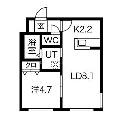 札幌市営南北線 麻生駅 徒歩5分の賃貸マンション 4階1LDKの間取り