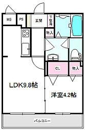 JR東海道・山陽本線 岸辺駅 徒歩3分の賃貸マンション 2階1LDKの間取り