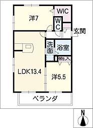 dix−septAnges西棟[2階]の間取り
