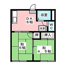 メゾン庭瀬 A棟[1階]の間取り