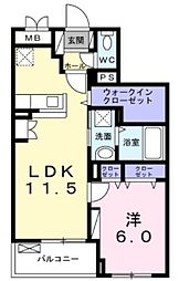 小田急小田原線 鶴川駅 徒歩22分の賃貸アパート 1階1LDKの間取り