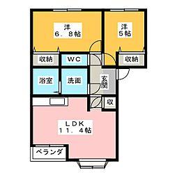 アシューレK[2階]の間取り