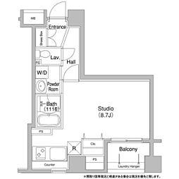 東京メトロ日比谷線 八丁堀駅 徒歩2分の賃貸マンション 9階ワンルームの間取り