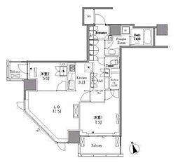 レジディアタワー目黒不動前 18階2LDKの間取り