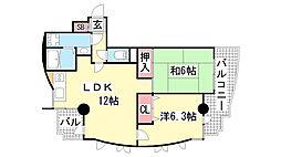 カーサヤナガワ[3階]の間取り