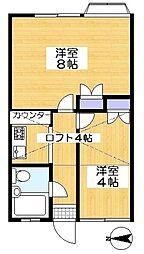 埼玉県川口市榛松3丁目の賃貸アパートの間取り