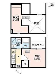 愛知県名古屋市中川区中郷4丁目の賃貸アパートの間取り