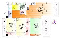ロイヤルコートI[5階]の間取り