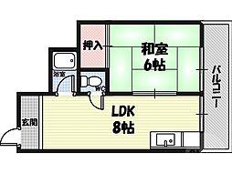 ラ・フォーレつるみ 4階1DKの間取り