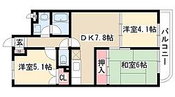 愛知県名古屋市天白区鴻の巣2丁目の賃貸マンションの間取り