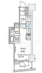 パークナードフィット南青山Vista 6階ワンルームの間取り