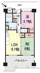 フロール川崎下平間第1 1番館 10階2DKの間取り