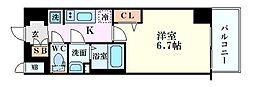 Osaka Metro中央線 九条駅 徒歩2分の賃貸マンション 15階1Kの間取り