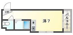ドゥリーエム園田 2階ワンルームの間取り