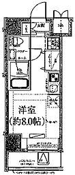 クラリッサ川崎ブルーノ 5階ワンルームの間取り