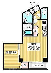 JR総武本線 千葉駅 徒歩10分の賃貸マンション 2階1LDKの間取り