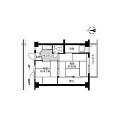 ビレッジハウス法善寺3号棟4階Fの間取り画像