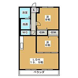 ハートフルマンションKAWABE 3階2LDKの間取り