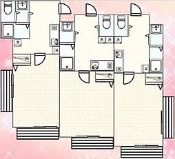 小田急小田原線 柿生駅 徒歩3分の賃貸マンション 2階1Kの間取り
