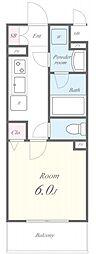 名古屋市営東山線 亀島駅 徒歩4分の賃貸アパート 1階1Kの間取り